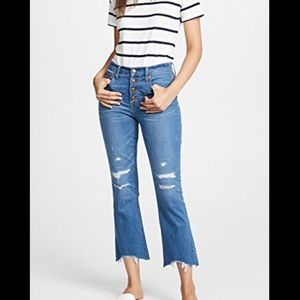 Cali Demi-Boot Jeans in Bronson Wash: Button-Front
